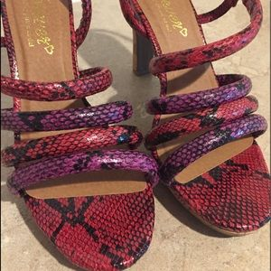 Red Purple Black Shoes Size 7